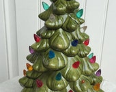 Ceramic vintage light up Christmas tree, table top decor, plastic bulbs, avocado green, 1960's-'70's era