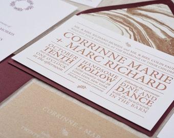 Hudson Letterpress Invitation Suite SAMPLE | Modern Typography | Kraft and Fig | Clean + Classic Design | Sample Only