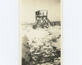 Lifeguard Station, 1940: Vintage Snapshot Photo (67483)