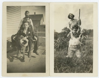 Set of 2 Vintage Snapshot Photos: Guys and Gals c1930s (69497)