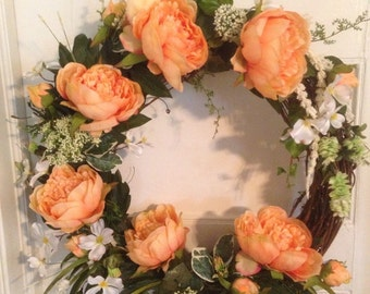 Coral Peony Wreath, Spring Summer Wreath, Mother's Day, Front Door Accessory, Outdoor Decoration, Unique Garden Wreath