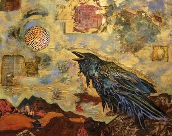 Raven, limited edition print, mystical, Tibetan, gold, watercolor, sacred, spirit, icon, messenger, cosmic