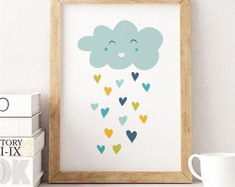 Rainy Cloud Print, blue cloud print , baby room print, play room decor, cloud rain print, baby shower gift, happy cloud, boys print