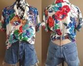 1990's Club California/ Hawaiian Shirt/ Camp Shirt/ Printed Blouse/ Floral Print Blouse/ Bold Print/ Hawaiian Blouse/ Bright Coloured Shirt