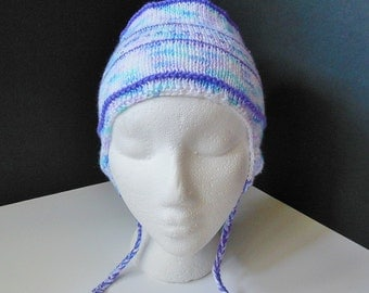OOAK Ear Flap Bomber Lavender Pastel Hand Knit Hat Baby 6+ months Toddler Child