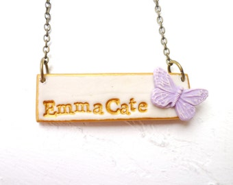 5 year old Girl Birthday Gift, Nameplate Necklace, Butterfly, Name, Personalized girl, Junior Bridesmaids, Butterfly wedding, Easter gifts