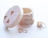 Round Trinket Box, Blush, White and Bronze