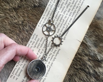 SALE Steampunk Necklace - Gears clockwork victorian Scifi nerd