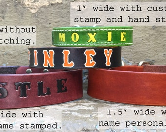 Leather Dog Collar  Custom  Personalize with your Dogs name  You can choose the dye, optional paint, and thread colors -