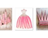 Princess Nursery Art, Pink and Brown, Nursery Prints, Baby Girl Nursery, Castle, Cinderella, Dress, Crown, Princess Wall Art, Girls room Art