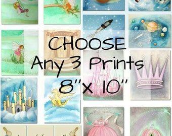 Choose Any 3 Art Prints 8''x10'' of my shop and make your own SET, Nursery Prints, Kids Wall Art, Nursery Decor, Art Prints for Children