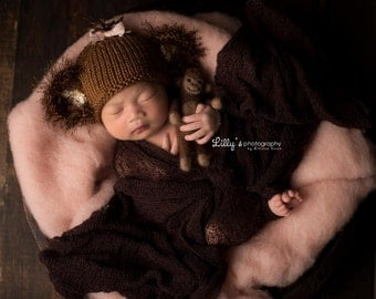 Newborn Monkey Hat with Tail Photography Prop, MADE TO ORDER