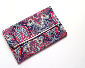 Paisley clutch, boho clutch, blue cluthbag, paisley purse, vegan leather, blue bag - Paisley