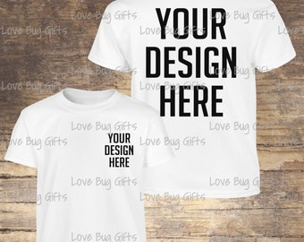 Youth TShirt Mock Up White - Youth Unisex Short Sleeve Shirt - Add your design - INSTANT Download