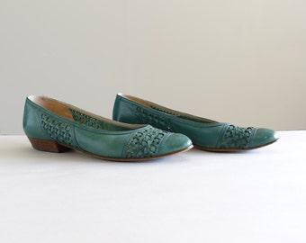 Vintage Teal Ballet Flats Size 6 1/2