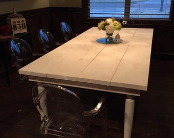 White Farmhouse Table & Bench - East Texas Local Listing Only