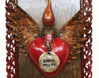 Up-cycled Assemblage Primitive Shrine, Brave Heart