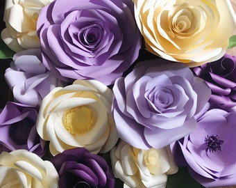 Big Paper flower backdrop, paper flower photo prop, paper flower wall, wedding backdrop, purple paper flowers