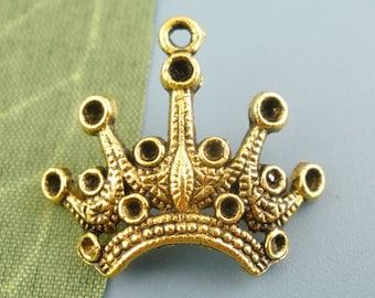 5 pieces Antique Gold Crown Charms