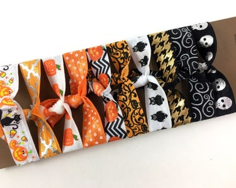 Exclusive 10 pcs set Halloween Elastic Hair Tie- Halloween Hair Ties Set - Print Hair Ties - Fall/Halloween/Holidays/Gift-Toddler to Adult