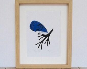 Mussel lino print
