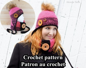 Nunavut Kit. Crochet hat and cowl pattern for child adult by Akroche Tatuk (PDF ONLY)