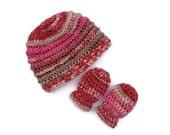Baby hat and mittens set, newborn 0-6 month's,new born,baby crochet beanie hat,baby shower gift,baby mittens,baby girl.