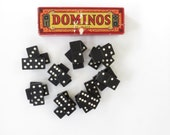 Vintage Box of Wooden Dominos - Vintage Halsam Products Co. Dominos - Antique Dominos - Boho Decor - Vintage Games
