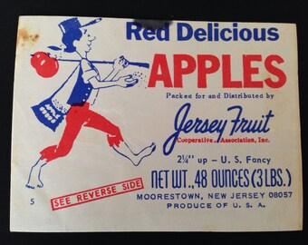 VINTAGE APPLE LABEL(Includes Recipe for Old Fashioned Applesauce Cake)Red Delicious Apple Label,Vintage Labels,New Jersey Fruit Association