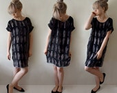 For Irene - Hand Printed Burnout Silk Velvet Shift Dress - Tarot Print - Smoke Grey