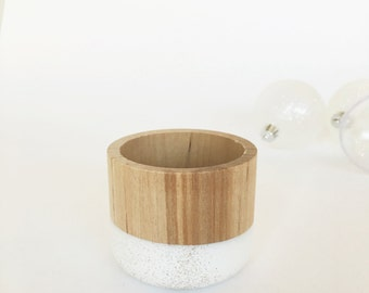 White Sparkle Wooden Cup,  Holiday Decor, by Willful, office gift, glitter, metallic