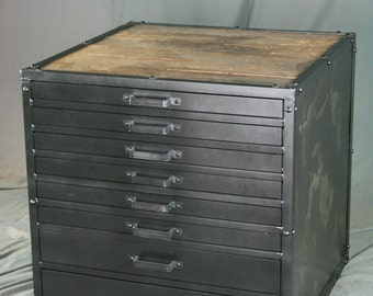 Items similar to custom refurbished three drawer flat file Upcycled metal filing cabinet