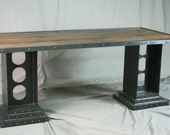Modern Industrial Desk with Girder Legs. Handmade. Custom. Reclaimed Wood and Steel. Unique Vintage Industrial Office Furniture.