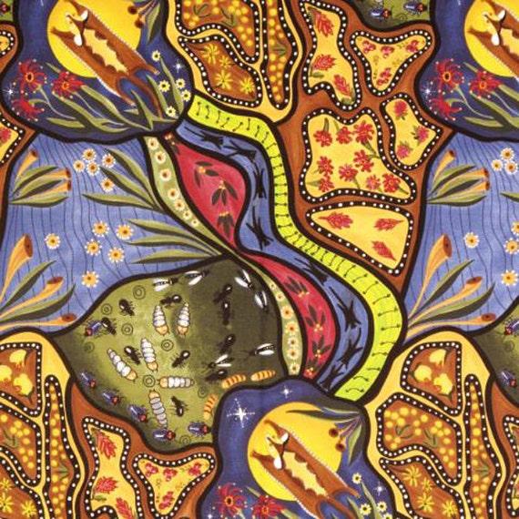 M s textiles fabric bambillah 1 yard aboriginal australian for Star fabric australia