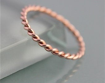 Twisted Rope Ring 14k Rose Gold Infinity Band 1.5mm Skinny Stacking Ring Spacer Wedding Shiny Finish Eco Friendly Recycled Gold