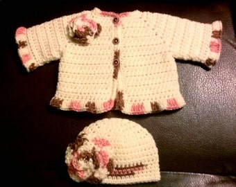 Crocheted Baby Girl's Sweater Set Baby Sweater and Hat Ivory Pink & Brown Baby Girl's Sweater and Hat Set