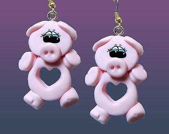 Full of Heart Pig Earrings