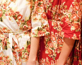 Pretty Bridesmaid Gift. Bridesmaid robes. Set of 2. Floral robes for your bridal party. Great photoprop for getting ready photos.