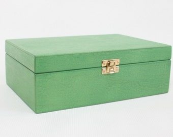 Wooden Tea Box / 6 Compartments Box / Wooden Keepsake Box / Jewelry Box / Green Box / Plywood Box / Personalized Box Option