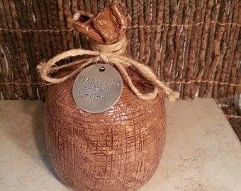 Cremation Urn - Stoneware Cremains Jar - READY to SHIP - SACK - Up to 32 lb