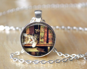 Librarian Gift - Librarian Necklace - Book Necklace - Book Pendant - Book Jewelry - Library Card - Gift Ideas for Book Lovers (X05)