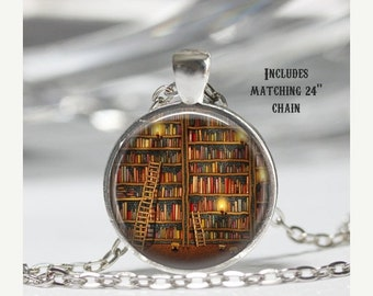 Library Book Necklace - Book Pendant - Literacy Jewelry - Literary Gifts - Librarian Necklace - Gift for Reader - Glass Dome Necklace X10