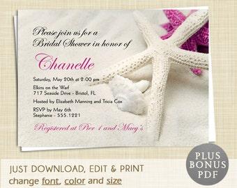 Beach Bridal Shower Invitation - EDITABLE PDF - Instant Download - DIY Printable - Starfish Island Tropical