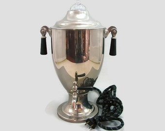Vintage Chrome Coffee Urn Working, Art Deco Electric Coffee Pot, Silver Percolator Bakelite Handles, Buffet Server