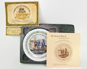 Lafayette Legacy Collection Plate II NIB, 1973 Limoges Porcelain Collectors Plate, Henri D'Arceau L. & Fils