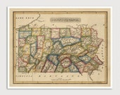 Old Pennsylvania Map Art Print 1817 Antique Map Archival Reproduction