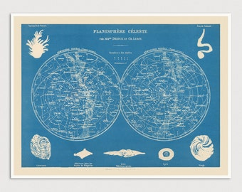 Old Constellation Map Art Print 1886 - Planisphere Celeste - Antique Map Archival Reproduction