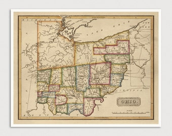 Old Ohio Map Art Print 1817 Antique Map Archival Reproduction