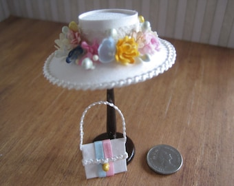 12th Scale Dollhouse Miniature Ladies Hat and Bag Set in Cream Silk