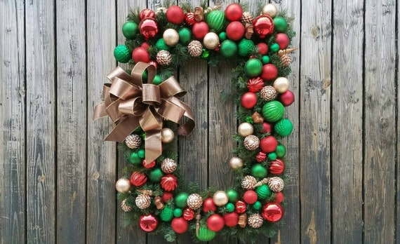 Christmas Wreath, Holiday Wreath, Ornament Wreath, Large Ornament Wreath With Red, Green, And Bronze Shatterproof Ornaments, Ready to Ship